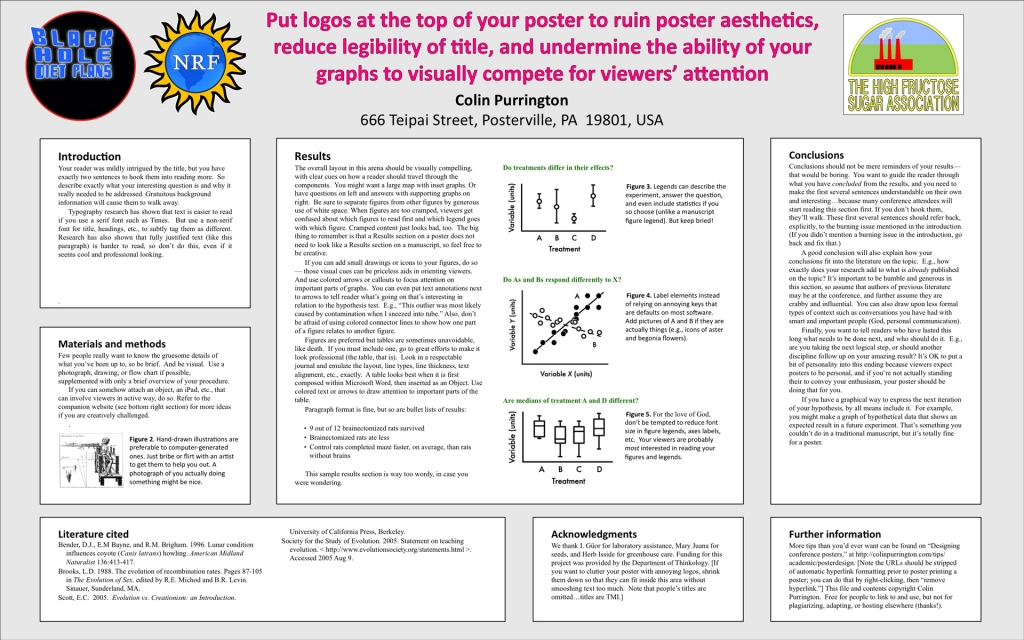 Poster example with logos at top (click to enlarge).
