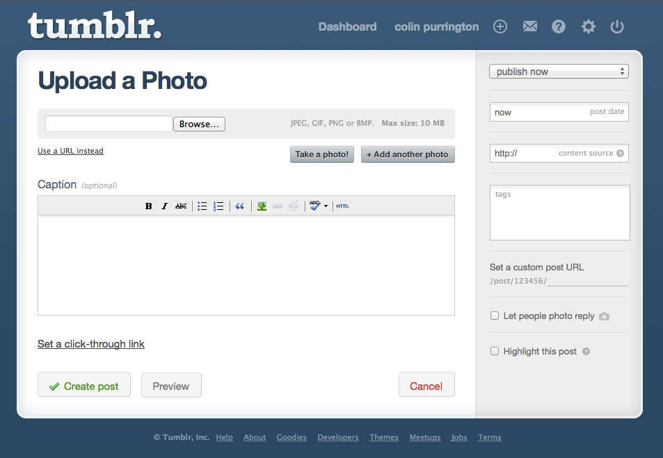 tumblr upload window