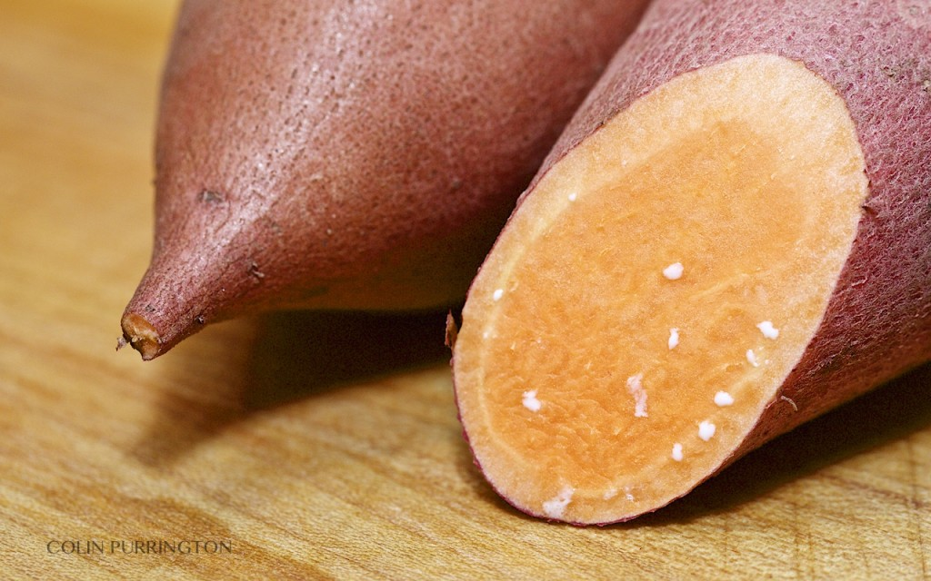 close-up photograph of cut sweet potato exuding white latex sap