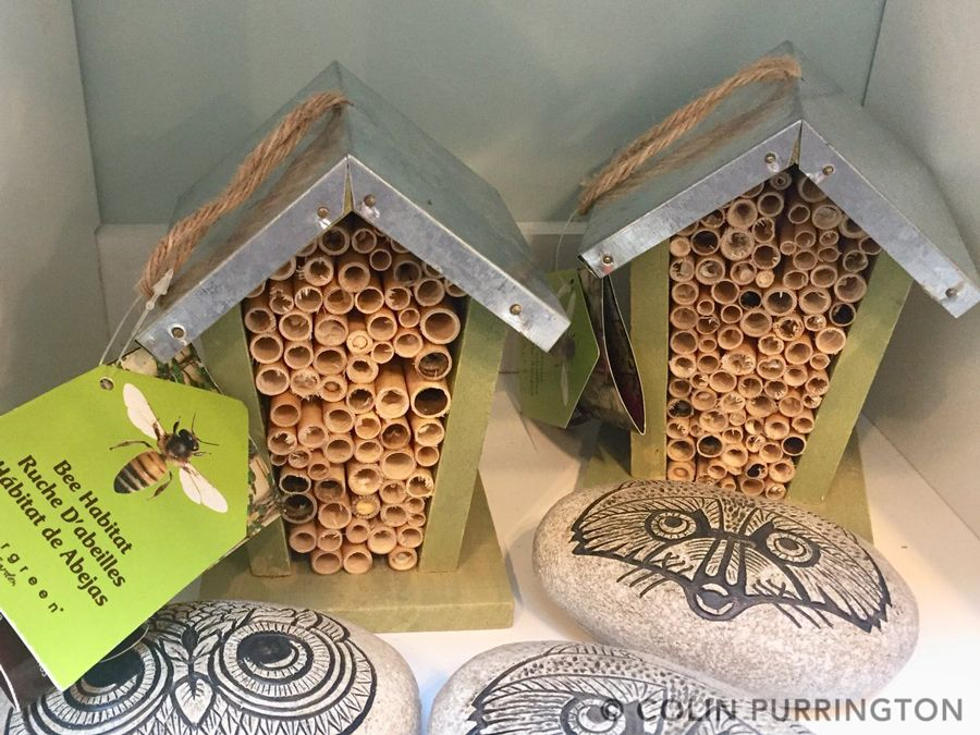 Mason bee house with honey bee drawing
