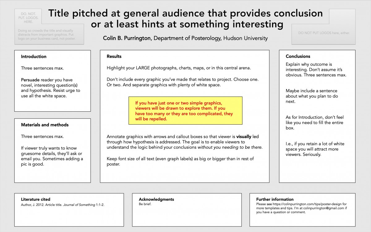graphic regarding Science Fair Project Printable Headings identified as Building convention posters » Colin Purrington