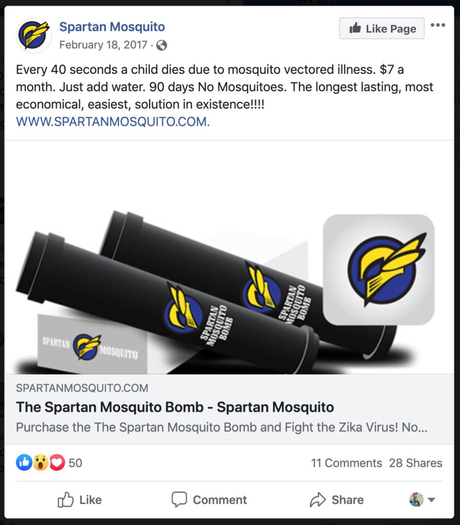 Spartan Mosquito's Zika advertisement on Facebook