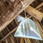 Bag of water hanging from ceiling