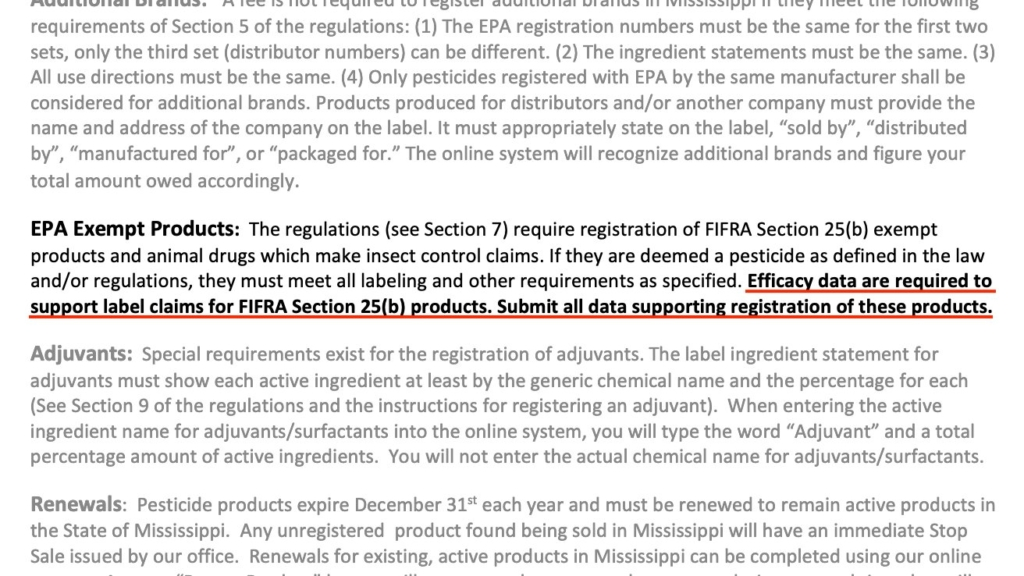 Mississippi's efficacy requirement for 25(b) pesticides