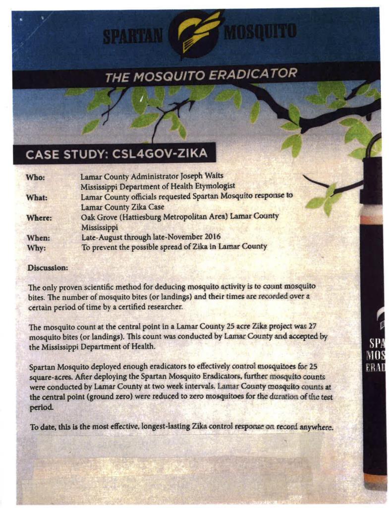 Spartan Mosquito's Zika brochure